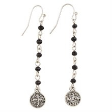 SAINT BENEDICT EARRINGS BLACK/SILVER