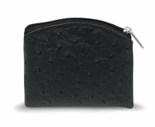 BLACK OSTRICH SKIN PATTERN ROSARY POUCH