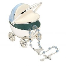 BLUE CARRIAGE KEEPSAKE WITH ROSARY