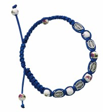 BLUE MIRACULOUS MEDALS AND CERAMIC BEADS CORDED BRACELET
