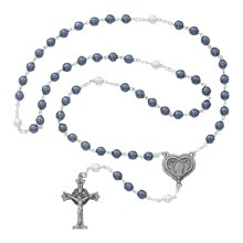 BLUE/WHITE PEARL ROSARY