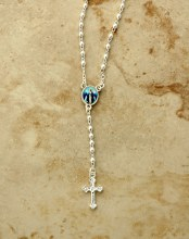 OUR LADY OF GRACE SILVER PLATED ROSARY NECKLACE