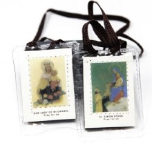 BROWN SCAPULAR BROWN CORD PLASTIC COVER