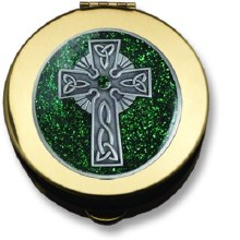 CELTIC CROSS PYX GOLD WITH GREEN EPOXY