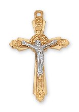 GOLD OVER STERLING CRUCIFIX TWO TONE