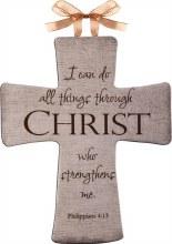 I CAN DO ALL THINGS THROUGH CHRIST CERAMIC INSPIRATIONAL CROSS