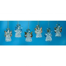 CLEAR SPUN GLASS ANGEL ORNAMENT