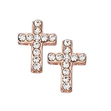 COPPER CRYSTAL CROSS EARRINGS