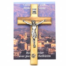 OLIVE WOOD CRUCIFIX WITH PEWTER CORPUS