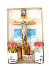 OLIVE WOOD CRUCIFIX WITH HOLY WATER & OIL