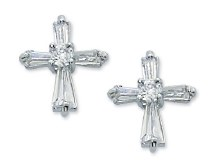 CRYSTAL CZ CROSS EARRINGS