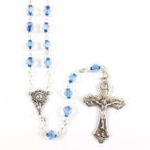 CRYSTAL AND BLUE ROSARY