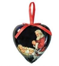 ADORING SANTA HEART SHAPED DECOUPAGE ORNAMENT