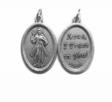OVAL OXIDIZED DIVINE MERCY MEDAL