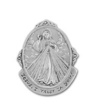 DIVINE MERCY PEWTER OVAL AUTO VISOR CLIP
