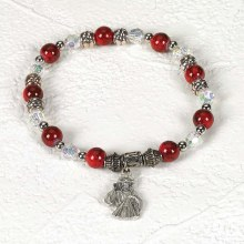 RED AND WHITE BEAD DIVINE MERCY BRACELET