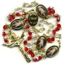 DIVINE MERCY ROSARY WITH COLORED MEDALS
