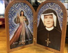 DIVINE MERCY AND ST FAUSTINA BI-FOLD PLAQUE