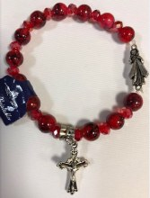 DIVINE MERCY REAL RED CRYSTAL STRETCH BRACELET