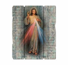 DIVINE MERCY SMALL VINTAGE PLAQUE WITH HANGER