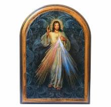 DIVINE MERCY WOODEN ARCHED PLAQUE