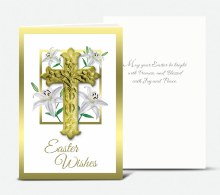 EASTER LILIES WITH CRUCIFIX EASTER CARD