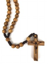 FAMILY SIZE OLIVE WOOD ROSARY ON CORD