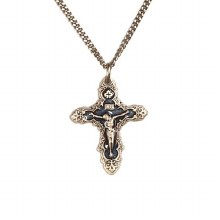 BLUE AND SILVER CRUCIFIX NECKLACE