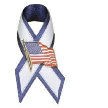 AMERICA FLAG PIN WHITE & BLUE RIBBON