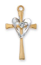 GOLD OVER STERLING WITH SILVER HEART CROSS
