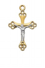 TWO TONE GOLD OVER STERLING CRUCIFIX