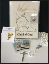 CHILD OF GOD 5 PIECE COMMUNION GIFT SET/WHITE