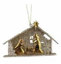 GLITTER HOLY FAMILY ORNAMENT