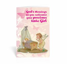 BABY GIRL WELCOME CARD