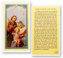 GOD'S CHILD AND YOURS - HOLY FAMILY PRAYER CARD