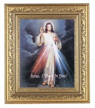 DIVINE MERCY IN A BEAUTIFULLY DETAILED ORNATE GOLD LEAF ANTIQUE FRAME