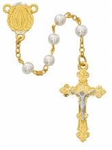 GP TWO TONE PEARL ROSARY