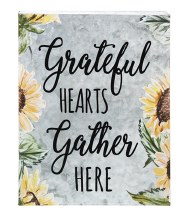 GALVANIZED WALL PLAQUE - GRATEFUL HEARTS GATHER HERE