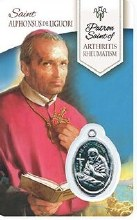HEALING ST ALPHONSUS PRAYER CARD WITH MEDAL