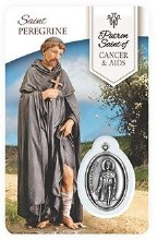 HEALING ST PEREGRINE PRAYER CARD WITH MEDAL