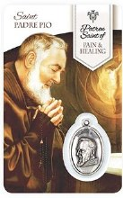 HEALING ST PIO PRAYER CARD WITH MEDAL