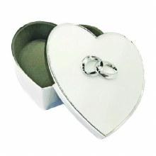 SILVER PLATED HEART SHAPED KEEPSAKE BOX