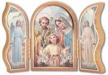 Gold Embossed Holy Family Triptych