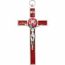 RED ENAMEL CRUCIFIX WITH HOLY SPIRIT