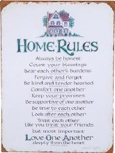 HOME RULES METAL WALL SIGN