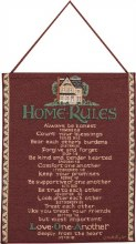 HOME RULES RED TAPESTRY BANNERETTE