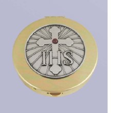 IHS & CROSS WITH RED STONE PYX