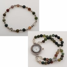 INDIA AGATE ROSARY WATCH SET