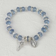 LIGHT BLUE CRYSTAL ROSARY BRACELET