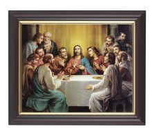 The Last Supper in a Fine Detail Channel Grooved Walnut Frame
